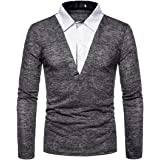 Men's Polo Shirt Long Sleeve Polo Stitching Fake Two-Piece Polo Tee Golf Tennis T-Shirt Dry Fit T-Shirts Casual Comfortable S