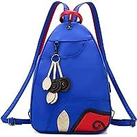 Jywmsc Damen Stilvoll Nylon Leicht Rucksack Schultertasche Draussen Brusttasche mit USB-Ladeanschluss (01 Blau)