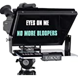 ILOKNZI Grote draagbare 12-inch tablet teleprompter geschikt voor DSLR en camcorder, 70/30 optisch splinterglas en goed voor