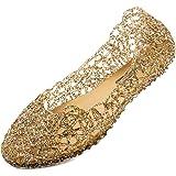 JOINFREE Women Girls Sandals Flats Ladies Jelly Shoes Flat Summer Shoes Gold Beach Sandals Womens Slipper