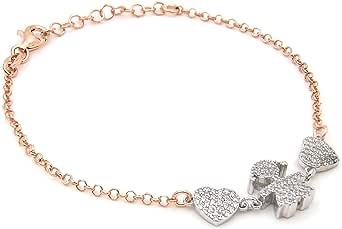 Bracciale regalo Donna Ragazza mamma ciondolo bimba e cuori Argento 925 Placcato in Oro bianco e Rose