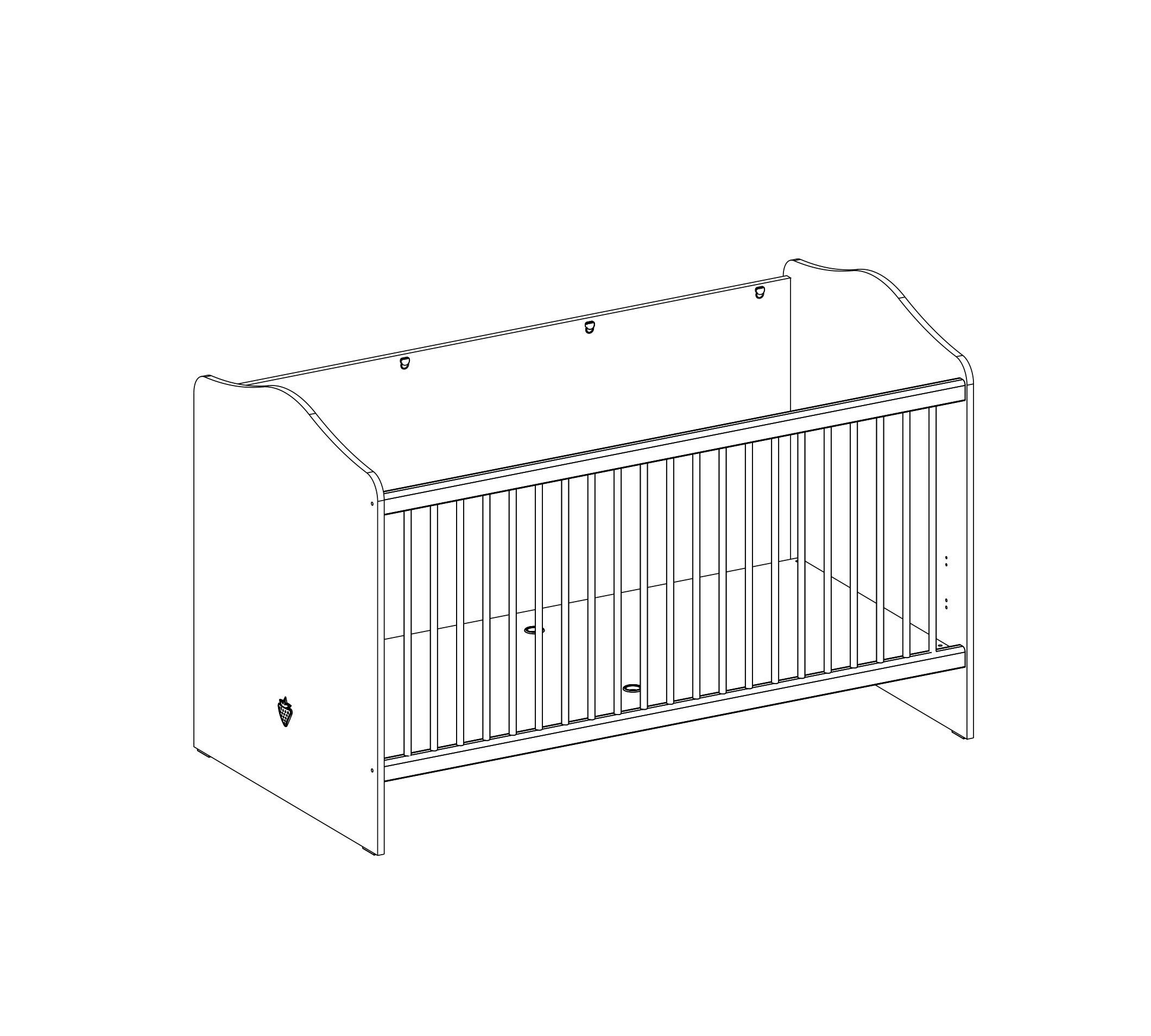 Dafnedesign.com - Cot early childhood bedroom for newborn or toddler - A baby cot with safety cage with poles - Includes a mattress - Width: 146 cm Height: 92 cm depth: 78 cm - [Series: Daphne-Classical] - (DF11) Dafnedesign 1 bed early childhood bedroom Baby bed Safety cage with poles 4