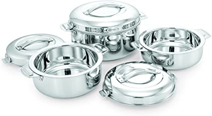 eKitchen Gagan Stainless Steel Hot Pots (1 L, 1.5 L and 2 L) - Set of 3