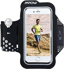 Mpow Fascia Sportiva da Braccio Sweatproof Bracciale per Corsa & Esercizi con Supporto Chiave e Riflettente Armband per iPhone7/6s/6, Samsung Galaxy S7, S6, etc - Nero