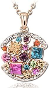 Kami Idea Collana, Regina del Partito, Placcato Oro Rosa, Cristalli Colorati, Elegante Portagioie, Regalo per la Mamma