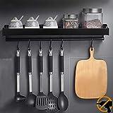 MOOING Porte-épices, Support Rangement Ustensiles de Cuisine Mural avec 6 Crochets Amovibles,Étagère de Cuisine Porte-Cassero