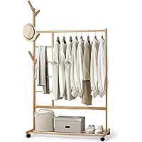 amzdeal Porte-Manteau en Bambou - Portant Penderie Vêtements, avec Compartiments à Pantalon et Une Etagère de Rangement…