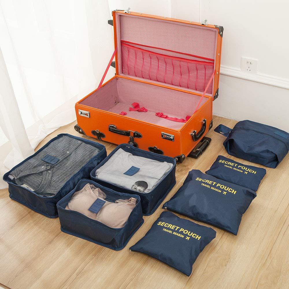 Newdora Lot de 7 sacoches de Rangement pour Bagage Taille Bleu Marin