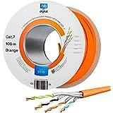 HB-DIGITAL 100m Cat. 7 nätverkskabel LAN installationskabel koppar S / FTP PIMF LSZH halogenfri orange RoHS-kompatibel kat. 7