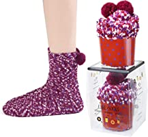 JARSEEN 2 Geschenk Box Kuschelsocken Weiche Bequeme Warme Flauschige Haussocken für Damen Mädchen Weihnachtssocken...