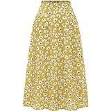 MuaDres Vintage Falda Midi A-Line Plisada para Mujer Falda Rockabilly Fluida Color Sólido con Bolsillos