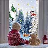 GEU Weihnachten Fenstersticker Fensterdeko Schneeflocken Statisch Haftende PVC Aufkleber Rentier Muster Weihnachtsmann Weihna