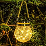 Epyz Solar Lantern Outdoor Hanging 20 led Jar Light Waterproof Crack Glass Globe Garden Light for Party Wedding Christmas Dec
