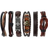 flintronic® Leather Bracelet, 6Pcs Adjustable Fashion Punk Braided Men & Women Rope Bracelet Cuff Vintage Bracelets Wrap…