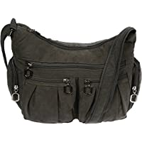 Christian Wippermann Damenhandtasche Schultertasche aus Canvas Dunkelgrau