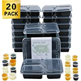 Meal Prep Containers with lids Three Compartment Lunch Box BPA-Free Reusable Microwavable Dishwasher Freezer Safe (20 Pack) (Square-20Pcs)
