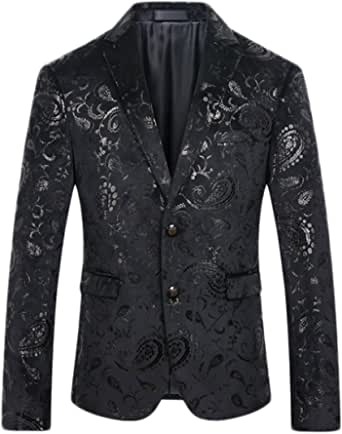 Men's Casual Blazer Single Breasted One/Two Button Suits Jacket Shining Blazer Prom Halloween Jacket