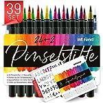 int!rend Pinselstifte 39er Set I 24 Aquarell Farben, 2 Wassertankpinsel, 8 Aquarellpapier, 5 Schablonen, Brush Pen...