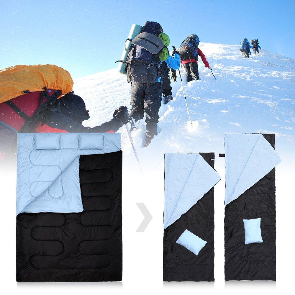 para Camping 210 * 152cm Se Convierte en 2 Sacos Individuales TOMSHOO Saco de Dormir Doble Adulto Acampada Excursiones y Actividades al Aire Libre para Todas Las Estaciones