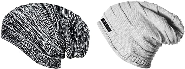 Noise Combo of Black Textured and Grey Wrinkled Winter Beanie Cap