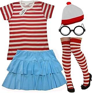 LADIES RED WHITE STRIPE T SHIRT  SOCKS HAT BLUE TUTU SKIRT NERD GLASSES BOOK DAY