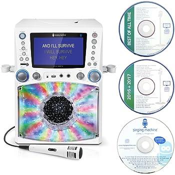 Singing Machine STVG785BTW Karaoke mit 3 CD+G's weiß