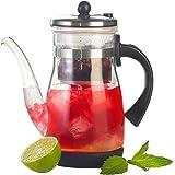 Rosenstein & Söhne Eistee Teebereiter: Eistee- & Tee-Bereiter-Kanne mit Komfort-Brühfunktion, 850ml (Glas Teekanne)