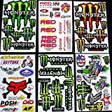 * 6 BLATT AUFKLEBER VINYL MB/ MOTOCROSS STICKERS BMX BIKE PRE CUT STICKER BOMB PACK METAL ROCKSTAR ENERGY SCOOTER