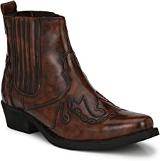 Delize Men Premium Synthetic Leather High Cowboy Ankle Boots