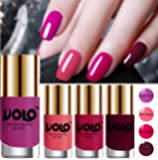 Volo HD Colors High-Shine Long Lasting Non Toxic Professional Nail Polish Set of 4 (Bright Plum, Pink Mania, Moon…