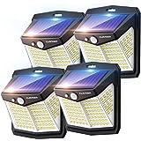 Claoner Lampe Solaire Extérieur Puissant【128 LED Lot de 4】Lumière Solaire Eclairage Exterieur IP65 Etanche Lampe Solaire avec