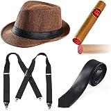 Beelittle 1920s Mens Accessory Set Manhattan Hat, Y-Back Suspenders, Gangster Tie, Toy Fake Puff Cigar