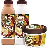 Garnier Fructis Hair Food Macadamia Lisciante, Kit con Shampoo, Balsamo e Maschera per Capelli Secchi e Indisciplinati, Fino