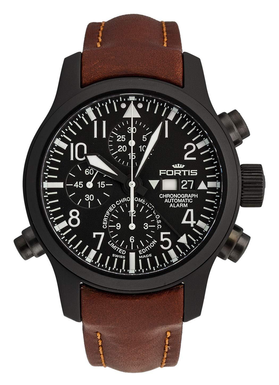 Fortis Herren-Armbanduhr B-42 Flieger Chronograph Alarm - Limited Edition - COSC Analog Automatik 657.18.11 L.18