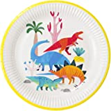 Talking Tables Dino Pack of 8-Dinosaur Plates for Kids Birthday-Made with 100% Recyclable Paper, Disposable, DINOPLATES