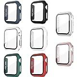 Jvchengxi Funda con Vidrio Templado Compatible con Apple Watch 44mm Series 6/5/4/SE, [8 Piezas] HD Cristal Templado Carcasa P