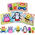 Highttoy Wooden Puzzles for 1 2 3 Year Olds,5 Pcs Jigsaw Puzzles for Toddlers Animal Shape Blocks Chunky Puzzles Montessori W