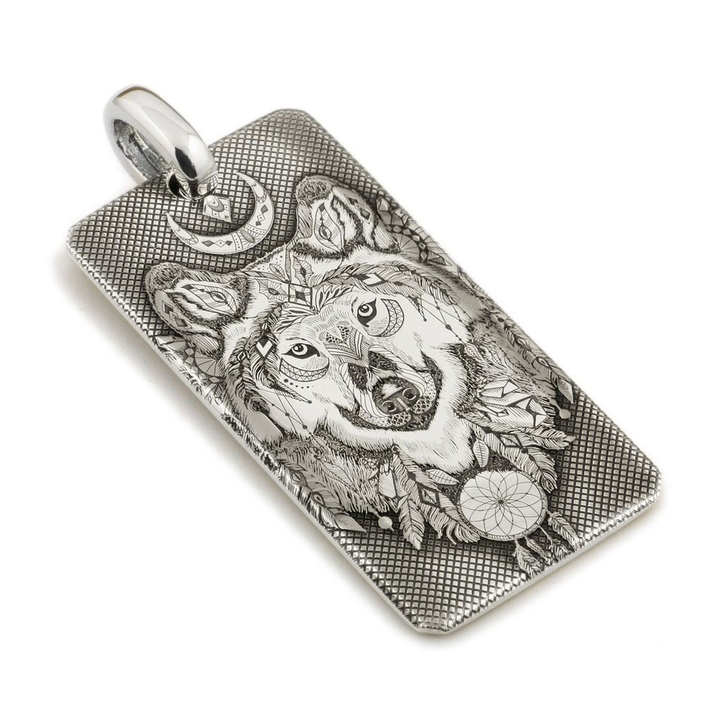 LINSION 999 Pure Silver Indian Wolf Dogtag Mens Biker Pendant 9X031S