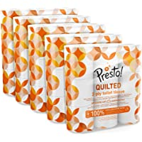 Amazon Brand - Presto! 2-Ply Quilted Toilet Tissues, 45 Rolls (5 x 9 x 190 sheets)