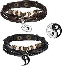 Cupimatch Muttertagsgeschenk 2 Stück Leder Damen Herren Armbänder, Retro Infinity Unendlichkeit Lieben Zeichen Armreifen, 23cm Verstellbaren Größen, Braun Schwarz