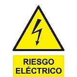 SEÑAL PLACA ADHESIVA ALUMINIO RIESGO ELECTRICO ALTA TENSION TRIANGULO 140mm NUEV