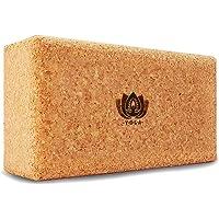 Yoga Block 2er SET Kork 100% Natur - Hatha Klotz auch für Anfänger Meditiation & Pilates, Fitness Zubehör Hilfmittel für Regeneration, Rücken, Dehnübungen & Blockaden Training, Zwei Blocks Stück 75 mm