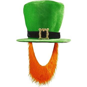WIDMANN - Cappello a Cilindro con Fibbia e Barba Rossa, in Velluto Verde