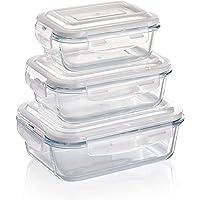 Grizzly Boîte Alimentaire en Verre Hermétiques avec Couvercle Set de 3 Rectangulaires - Boîtes Conservation sans BPA