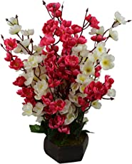 Fancy Mart Artificial Cherry Blossom Flowers with Wooden Pot, 18-inches (Thefancymart-AF-1353)