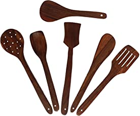 Lunatic CRAFTWORK Wooden KITCHENWARE (COOKWARES) - Serving and Cooking Non Stick Wooden Spoon Set of 6 Spatula { Kitchen/Cooking Tools }