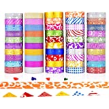 GCOA 50 Rouleaux Washi Tape Ruban Adhésif Washi Paillettes Washi Ruban adhésif de masquage pour DIY Décoration Scrapbooking