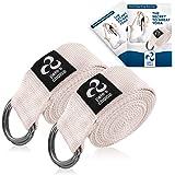 Correas de Yoga Ajustable de 2,4 m – 2 x Pack I Incluye eBook I Correa de Estiramientos con Hebilla en D para Pilates, Gimnas