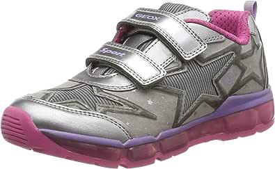Geox Mädchen J Android Girl B Sneaker, Silber (Dk Silver/Fuchsia C1a8n), 24 EU