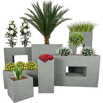 PFLANZWERK® Pflanzkübel TOWER Granit Grau 60x28x28cm *Frostbeständiger Blumenkübel* *UV-Schutz* *Qualitätsware*